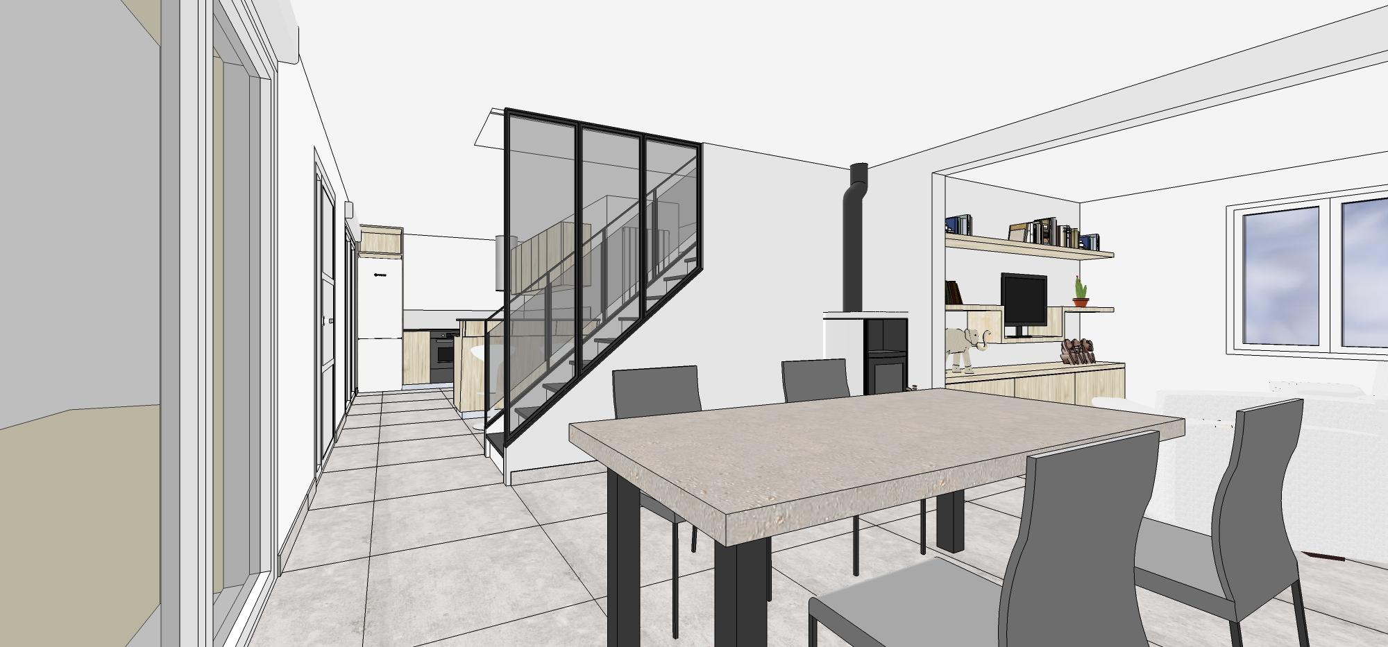 Projet aménagement salon et escalier