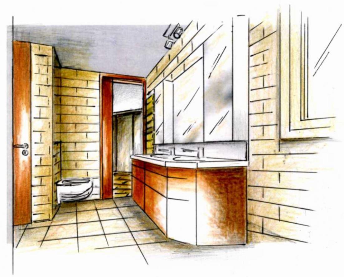 Projet salle de bain 3d architecture interieure for Croquis salle de bain